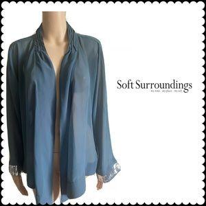 Soft Surroundings Sequin Sleeve  Sheer Cardigan